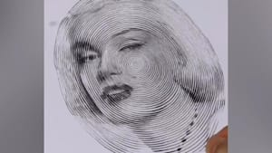 Artist draws celebrity portraits with one spiral