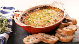 Cheesy French onion dip is perfect for football