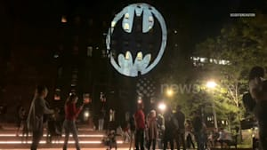 Bat Signal projected onto New York building for Batman Day 2019