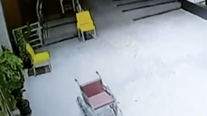 Eerie clip of empty wheelchair moving on its own