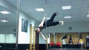 Gymnast performs gravity-defying air walk