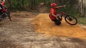 Mountain bikers fall over trying tricks