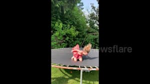 Woman's trampoline try ends with face-plant