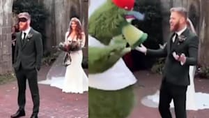 Groom pranked for first look at bride