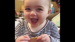 Baby immediately stops crying when given crackers