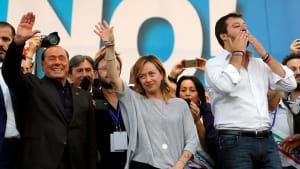 Rechte Parteien demonstrieren in Rom