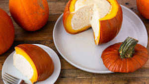 Cheesecake stuffed pumpkin is perfect for fall