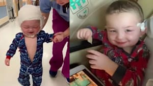 Toddler excited to take first steps after surgery