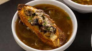 French Onion Soup with Mushroom Toast