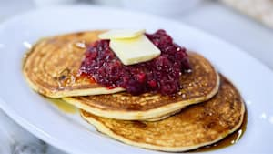 Cranberry sauce for meatless meatballs, pancakes
