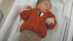 Newborns dressed in adorable Mr. Rogers cardigans