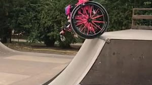 Girl trains for Wheelchair Skating Championships