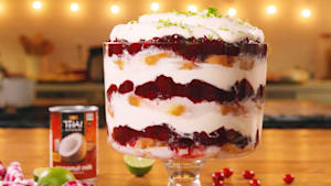 Cranberry coconut trifle is the perfect dessert