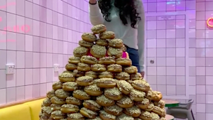 Check out this human-sized donut tower