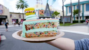 Universal Studios cafe has macron-topped cake
