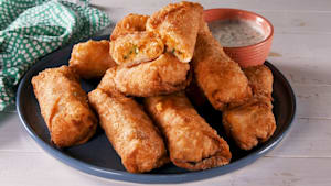 Buffalo chicken eggs rolls are ideal for game day