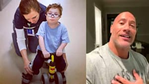 The Rock sends video to 3-year-old cancer patient