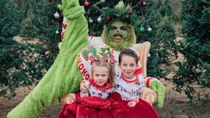 Grinch Scares Children At Christmas Photo Shoot