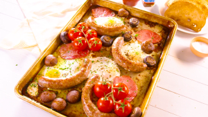 English breakfast traybake