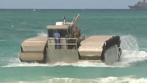 Amphibious car connects troops from ship to shore
