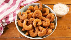 Popcorn shrimp is fried to perfection