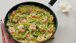 1600 calorie Keto shrimp zoodle alfredo