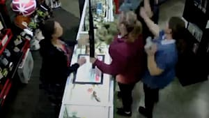 Shop manager catches baby falling off a countertop