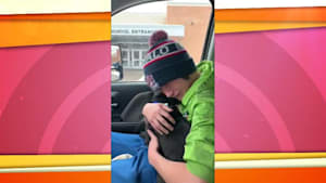 Teen cries after being reunited with his lost dog