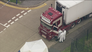Forensics on scene after 39 bodies found in UK