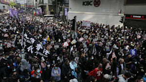 Massive rally marks six months of protests in Hong Kong