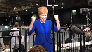 Nicola Sturgeon celebrates Jo Swinson losing her seat