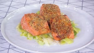 Slow-baked salmon, harissa-roasted carrots