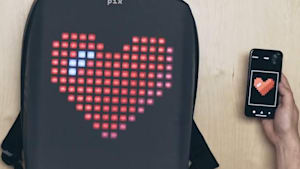 This backpack has a customizable LED screen