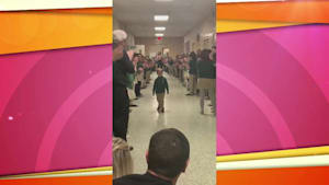 Boy's standing ovation after fighting leukemia