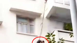 Grandma dangles kid from balcony to rescue her cat