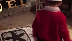 Little Boy Overjoyed After Getting a Fan as Christmas Present