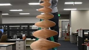 Civil engineer creates Christmas tree out of wood