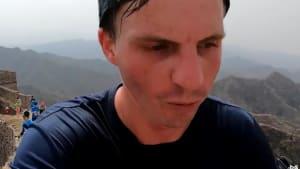 Man runs a marathon on the Great Wall of China