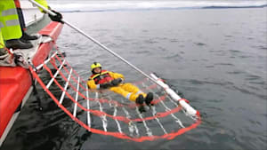 Net rescues sailors that have fallen overboard