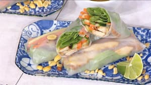 Hawaiian chicken and spring rolls
