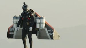 Humans take flight with jet-powered wings