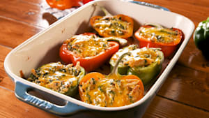 Creamy chicken stuffed bell peppers
