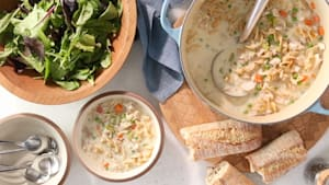 Creamy chicken noodle soup with rotisserie chicken