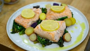 Sicilian-style pasta and parchment-packet salmon