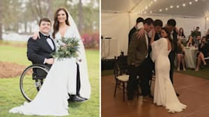 Friends help paralyzed groom stand for first dance