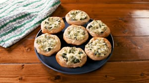 Handheld spinach and artichoke dip