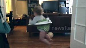 Dizzy alert! Baby can't stop spinning in bouncer