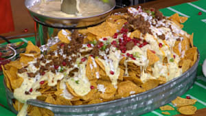 Nachos are game day goals due to cheese fountain