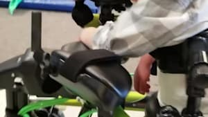 Boy with cerebral palsy walking thanks to robotics