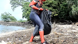 Spider-Man is cleaning up the beaches in Indonesia